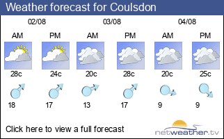 Weather forecast for Coulsdon