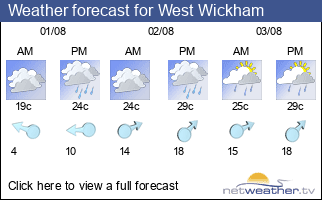 Weather forecast for West Wickham