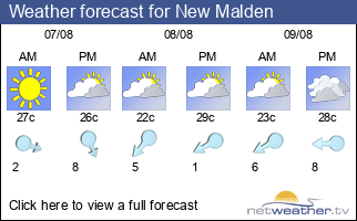 Weather forecast for New Malden