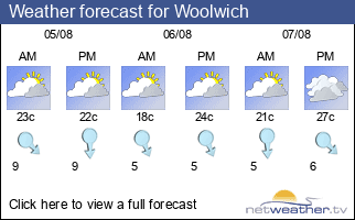 Weather forecast for Woolwich