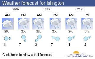 Weather forecast for Islington