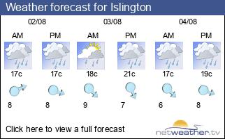 Weather forecast for Islington