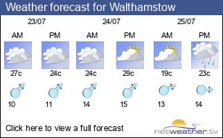 Weather forecast for Walthamstow