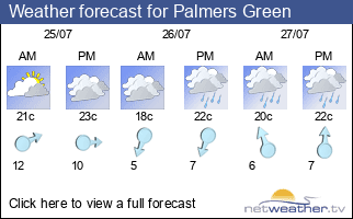Weather forecast for Palmers Green