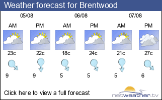 Weather forecast for Brentwood