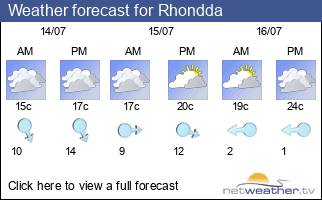Weather forecast for Rhondda