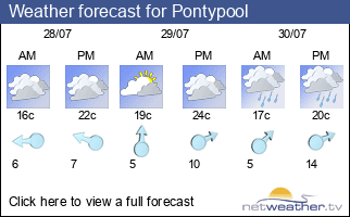 Weather forecast for Pontypool