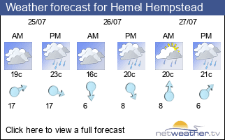 Weather forecast for Hemel Hempstead
