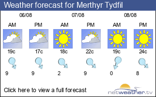 Weather forecast for Merthyr Tydfil