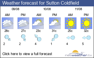 Weather forecast for Sutton Coldfield