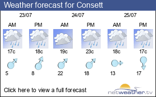 Weather forecast for Consett